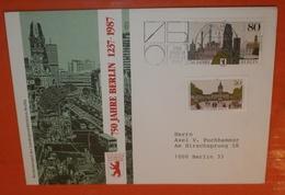 BRD BUND 1306 + BERLIN 773 Aus Block 8 --- Cover SST: Berlin 750 Jahre 06.10.1987 -- Brief (2 Foto)(38061) FFF - Cartas