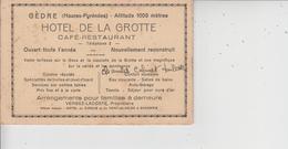 65 GEDRE  -  HOTEL DE LA GROTTE  -  CARTE 3 VOLETS  - - France