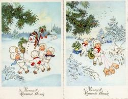 Bonne Année 810, Enfants Cochon Bonhomme De Neige Illustrateur Inconnu - Nouvel An