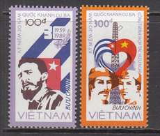 1988 Vietnam Cuba Castro Flags  Complete Set Of 2 MNH - Vietnam