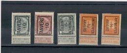 1910 - 11 - 12 - 14 - Préoblitérés ANTWERPEN - ANVERS - Precancels