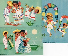 JARANA-HUAPANGO-DANZA DE LOS ARCOS-LOTTO 3 CARTOLINE-MEXICO - Messico