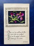 """Cpa  Brodée---""""Fleurs Avec Vers De Poésie""""--(1044) - Other"""