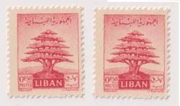 LBS06501 Lebanon 1951 1/2p Cedar Tree PRINTED ON BOTH SIDES / MNH - Lebanon