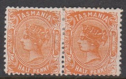 Australia-Tasmania SG 163 1880 Half Penny Orange Pair,mint Hinged,perf 12 - Mint Stamps