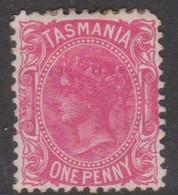 Australia-Tasmania SG 164b 1880 One Penny Rosine,rounded Corner,mint Hinged,perf - 1853-1912 Tasmania