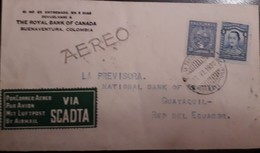 O) 1930 COLOMBIA, SANTANDER, MAGDALENA RIVER AND TOLIMA VOLCANO -SCADTA - MIT LUFTPOST AIRMAIL, THE ROYAL BANK OF CANADA - Colombia