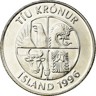 Monnaie, Iceland, 10 Kronur, 1996, SUP, Nickel Plated Steel, KM:29.1a - Islande