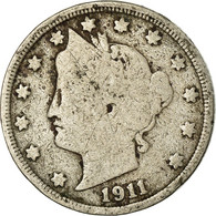 Monnaie, États-Unis, Liberty Nickel, 5 Cents, 1911, U.S. Mint, Philadelphie - Federal Issues