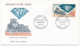 Côte D'Ivoire => Enveloppe FDC - 40f Exploitation Diamantifère - ABIDJAN - 4 Nov 1972 - Ivory Coast (1960-...)
