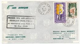 Côte D'Ivoire => Enveloppe Premier Vol Air Afrique ABIDJAN NEW-YORK En Association Avec Pan-Am - 18 Mai 1965 - Ivory Coast (1960-...)