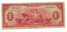 Netherlands Antilles , Curacao.  1 Gulden 1942,  F+. - Antilles Néerlandaises (...-1986)