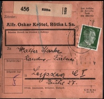 ! 1943 Paketkarte Deutsches Reich, Rötha In Sachsen Nach Leipzig, Zusammendrucke Hindenburg - Storia Postale