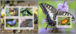 MALDIVES 2019 MNH Butterflies Schmetterlinge Papillons M/S+S/S - OFFICIAL ISSUE - DH2008 - Butterflies