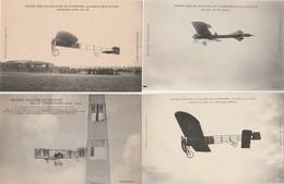 """4 CPA:GRANDE SEMAINE DE L'AVIATION DE CHAMPAGNE AVIATEUR """"LATHAM..DELAGRANGE..PAULHAN..LEBLANC"""" - Airmen, Fliers"""