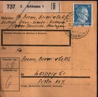 ! 1943 Paketkarte Deutsches Reich, Schkopau Buna Werke Nach Leipzig, Zusammendrucke Hindenburg - Briefe U. Dokumente
