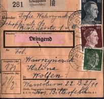 ! 1943 Paketkarte Deutsches Reich, Schoppinitz, Schlesien Nach Wolfen, Zusammendrucke Hindenburg - Allemagne
