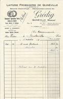 Facture Laiterie Fromagerie De Quinéville (Manche) Grédig, Médaille D'Argent Au Concours Agricole 1933 - Francia