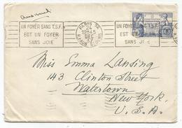 N°357 DEFECTUEUX LETTRE MEC RBV UN FOYER SANS TSF EST UN FOYER SANS JOIE PARIS 26 R FAUB ST DENIS 24 DEC 37 POUR USA - Mechanical Postmarks (Advertisement)