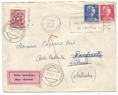 MULLER 15FR+20FR LETTRE PARIS XV 21.8.1957 POUR AUTRICHE TAXE 30C POSTE RESTANTE + TIMBRE A DATE PARIS XV DISTRIBUTION - 1955- Marianne Of Muller