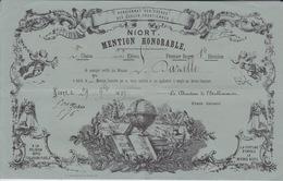 NIORT - 1889 PENSIONNAT DES FRERES ECOLE CHRETIENNE - MENTION HONORABLE - GRAVURE ET TEXTE BON ETAT - Diploma & School Reports