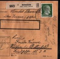 ! 1943 Paketkarte Deutsches Reich, Schweinitz über Jessen / Elster Nach Wolfen, Zusammendrucke Hindenburg - Deutschland