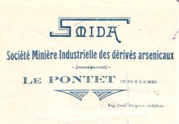 SMIDA  Société Minière Industrielle Des Dérivés Arsenicaux  LE PONTET 84 - Lettres De Change