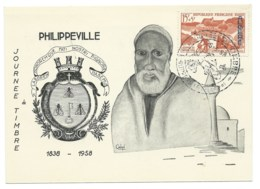 DISTRIBUTION POSTALE MOTORISEE / PHILIPPEVILLE ALGERIE / 1958 /  JOURNEE DU TIMBRE - Covers & Documents