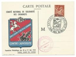 1f50 IRIS SUR CARTE POSTALE / COMITE NATIONAL DE SOLIDARITE DES CHEMINOTS / PARIS GARE DU NORD EXPO PHILATELIQUE - Marcophilie (Lettres)
