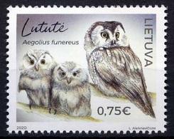 2020 Lithuania, Birds Of Prey, Owls, Stamp, MNH - Owls