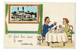 """Fantaisie Illustrée J De Preissac Avec Collage Mini-vue """"Il Fait Bon Vivre à Tournus"""" Couple Attablé, Verre à La Main - - France"""