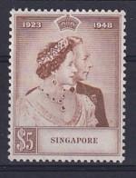 Singapore: 1948   Royal Silver Wedding  SG32    $5   MH - Singapour (...-1959)