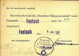 Document  Sie Sind In Derliteder Deutschen Volksgemeinschaft  Fentsch Diedenhofen C7/1 - Dokumente