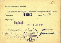 Document  Sie Sind In Derliteder Deutschen Volksgemeinschaft  Fentsch Diedenhofen C7/2 - Dokumente