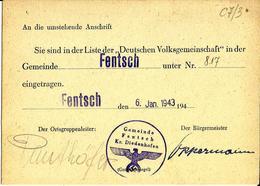 Document  Sie Sind In Derliteder Deutschen Volksgemeinschaft  Fentsch Diedenhofen C7/3 - Dokumente