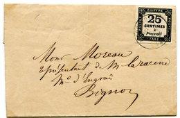 LOIRE ATLANTIQUE De AIGREFEUILLE LAC Du 27/01/1872 Avec Timbre Taxe N°5 Type 1 Oblitéré Par Dateur T 16 - 1849-1876: Periodo Clásico