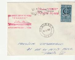 """Lettre Avec Cachet Illustré """"Paquebot France"""" , Postée En Mer , Oblitération  Paquebot , 1966 - Schiffe"""