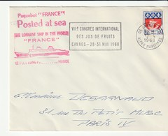 """Lettre Avec Cachet Illustré """"Paquebot France"""", Postée En Mer, Oblitération  Flamme Cannes Congrès Du Jus De Fruits, 1968 - Barche"""