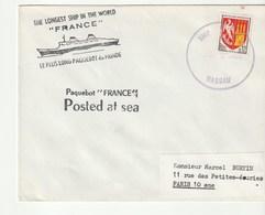 """Lettre Avec Cachet Illustré """"Paquebot France"""", Postée En Mer, Oblitération  Nassau - Barche"""