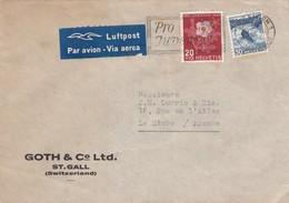 SUISSE. LETTRE. 11 12 1945. MIT LUFTPOST GOTH & C° Ltd. St GALLEN POUR LE HAVRE - Schweiz