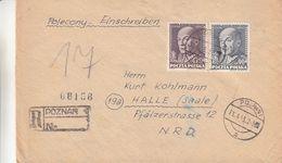 Pologne - Lettre Recom De 1953 - Oblit Poznan - Exp Vers Halle / Saale - Général - Cachet De Warsawa Et Frankfurt - - 1944-.... République