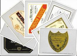 7 Cpm Ed. Estel : Etiquette Champagne L. Perrier, Moët,P. Jouet, Mumm, Mercier, Pommery, Lanson à Reims Et Epernay - France