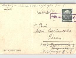 POLEN Kastenstempel OSTROW Auf Hindenburg Briefmarke Violet Boxed Handstamp: OSTROW (Polen) On German Stamp - Briefe U. Dokumente