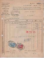 """VP7/ Facture Cacao & Chocolat """"Kwatta"""" S.A. Bois D'Haine  29/3/1934 Commande D'oeufs > La Louvière TP Fiscaux - Food"""