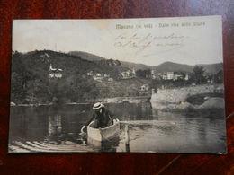20039) MASONE DALLE RIVE DELLO STURA UOMO SU PICCOLA BARCA VIAGGIATA 1912 BELLISSIMA - Genova