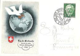 Schweiz Suisse Journée Du Timbre 1945: Bild-PK CPI Mit Zu WI 113 Mi 465  Yv 423 Mit  O TAG DER BRIEFMARKE 2.XII.45 BERN - Tag Der Briefmarke