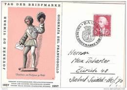 """Schweiz Suisse 1957: BPK CPI """"Briefbote Basel"""" Zu 168 Mi 648 Yv 597 O BASEL 1.XII.1957 TAG DER BRIEFMARKE (Zu CHF 12.00) - Lettres & Documents"""