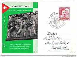 """Schweiz Suisse 1956: BPK CPI """"Post-Pferd"""" Zu 163Mi 632Yv 581 O ST.GALLEN 2.XII.1956 TAG DER BRIEFMARKE (Zu CHF 15.00) - Lettres & Documents"""