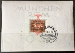 """1937 Zum 6. Rennen Um ,,Das Braune Band"""" In München-Riem Mit Rotem Aufdruck Block 10 Mit Ersttag-Sonderstempel - Duitsland"""