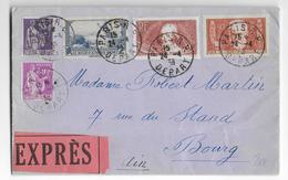 1938 - SUPERBE AFFR. Sur ENVELOPPE EXPRES De PARIS => BOURG (AIN) - Francia